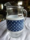 Vintage Retro Anchor Hocking Blue Polka Dot and Lace Pitcher