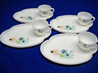 VINTAGE FEDERAL GLASS ATOMIC FLOWER PATIO SNACK SET WITH BOX - SERVICE FOR 4