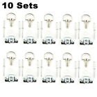 10Sets Fasteners Quick Release 1/4 Turn Fairing Stainless or Black Chrome 17mm