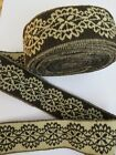 1910 Antique Vintage WOVEN WOOL Black White Floral French Trim edging BTY