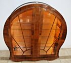 Vintage Art Deco Curio Display China Cabinet Cathedral Glass Doors Locking 1B