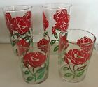 Vtg Anchor Hocking red roses juice carafe  6 reg 2 juice glasses yellow ribbons
