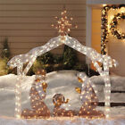 72 Christmas Outdoor Nativity Scene Set Pre lit w 250 Clear Lights Yard Decor