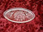 Beautiful Small Vintage Clear Cut Glass Oval VANITY Tray or Card Dish