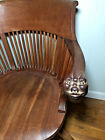 VTG ANTIQUE UNIQUE CARVED NORTH WIND FACE ARM WALNUT SWIVEL CHAIR EXECUTIVE DESK