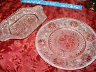 BEAUTIFUL Vintage Matched SET of 2 Clear Pressed Glass Serving PLATE and TRAY