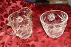 Vintage Clear Pressed Glass Creamer and Open Sugar Bowl Hob Stars