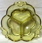 Vintage Yellow Depression Glass Three Compartment Relish Dish Tid Bit Tray