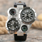 OULM Military Army Dual Time Zones Men Quartz Watch Big Dial Leather Strap Gift