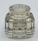Old Antique Rare Heavy Crystal Glass Inkwell With Removable Crystal Cover
