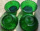 Lot Of 4 Riverside Anchor Hocking BUBBLE GLASS Forest Green CEREAL BOWLS!