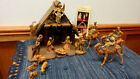 VTG FONTANINI NATIVITY DEPOSE ITALY 15 PIECE SET W STABLE WISE MEN ON CAMELS