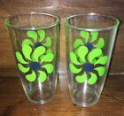 Vtg Sour Cream Glass Flower Pinwheel Lot 2 Hazel Atlas Green