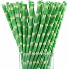 Maxdot 150 Pack Biodegradable Bamboo Print Paper Drinking Straws for Juices