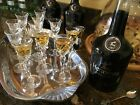 Vintage cordials stemware set TIFFIN FRANCISCAN fine crystal tiny liquor glasses