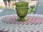 Vintage Green Indiana  Glass Whitehall Cubist Footed Juice Glass green
