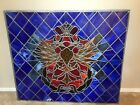 Antique Stained Glass Church Window Jeweled Crown Eagle Serpents 53 X 45