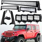 For Jeep Wrangler TJ 1997 2006 52 700W LED Light Bar + Mounting Brackets Set