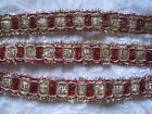 VINTAGE SPARKLE RED AND GOLD METALLIC TRIM  10 YARDS CHRISTMAS CRAFTS EDGING