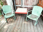 Vintage Green Pressed Metal 1940s Chairs  Tile Table Yard Garden Furniture Set