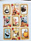 Set of 9 Cards Vintage Thanksgiving Greeting Card Toppers and Crafts 153N