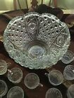 L E Smith CRYSTAL PUNCH BOWL SET 18 CUPS