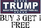 Trump BUILD THE WALL DEPORT THEM ALL President Decal Bumper Sticker Make Again