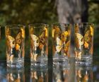 Vintage CULVER 22k Butterfly Highballs, Set of 8 with caddy, Home Bar Glasses