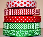 5 YDS GROSGRAIN RIBBON MIXED LOT PRINTED MERRY CHRISTMAS RED EMERALD