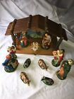 Large Vintage Nativity Set Japan 12 Pc Paper Mch Figures  Wood Stable