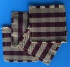 Burgundy and Beige Cotton Checked Coasters - set of 4 - Primitive Country Decor