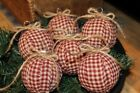 Primitive Rag Ball Christmas Ornaments Bowl Fillers Set of 6 Burgundy Check