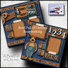 I LOVE ABOUT YOU 2 premade scrapbook pages paper piecing bear boy CHERRY 0043