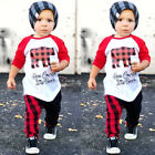 US Christmas Outfits Toddler Kids Baby Boys Girls Tops T shirt Pants Clothes Set