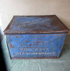 Antique FRANKLIN SUGAR REFINING CO Metal Shipping Box, Old Blue Paint, PA, RARE