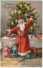 SUPER - Santa Claus GEL Postcard - Germany Tree Bells Toys Christmas 1912 German