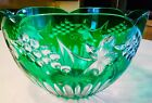SALE Vintage Bohemian Emerald Green Large Fruit Bowl Cut To Clear Glass Crystal