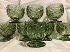 8 Green Pressed Glass Dessert Compotes Sherbet Cups Raised Flower Leaves Footed