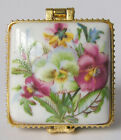 Fashion @@ Jewelry box painted spring green leaves and red flowers square DGTUYU