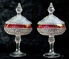 Vintage Candy Dishes w/lids Indiana Glass Diamond Point Ruby Pedestal (set of 2)