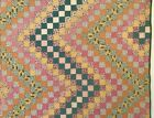 Antique Hand Pieced/Hand Quilted Continuous Square Feedsack Zig Zag Quilt
