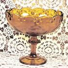 Vintage Indiana Glass Footed Fruit Bowl Teardrop Garland Glowing Amber Color