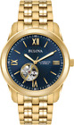 Bulova Men's 97A131 Automatic Open Heart Blue Dial Gold Tone Bracele