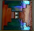 Stained Glass SunCatcher Iridescent Teal Orange Swirl Dichroic Bevels 8Wx8H
