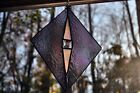 Stained Glass SunCatcher Diamond Iridescent Purples Dichroic Bevel 7Wx10H