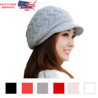 Women Winter Warm Knit Hat Wool Snow Ski Caps With Visor Baggy Beanie Outdoor