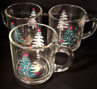 Anchor Hocking Christmas Glass Mugs w/ Handles Collectible Set of 3 Small Cups