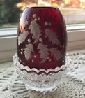 VINTAGE FENTON GLASS CHRISTMAS HOLLY RUBY RED DIAMOND OPTIC FAIRY CANDLE LAMP