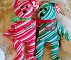 Perfect Christmas Pair of Bears 2 Beanie Holiday teddies both Mint condition