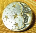 ANTIQUE VICTORIAN CELESTIAL METAL BUTTON RAISED MAN ON MOON w GOLD INCISED STARS